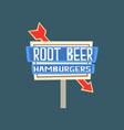 root beer hamburgers retro street signboard vector image vector image