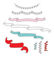 set christmas garlands and streamers vector image vector image