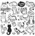 set hand draw funny cats in sketch style vector image