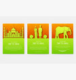 set of india country ornament travel tour concept vector image vector image
