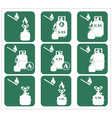 Set of tourist cooking equipment icons vector image