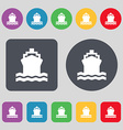 ship icon sign A set of 12 colored buttons Flat vector image vector image