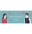social distance man and woman in medical vector image