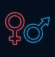 symbols of gender venus and mars neon glow vector image vector image