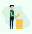 the guy puts coins vector image