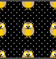 tile pattern with owls and dots on black vector image