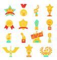 trophy awards icons set flat vector image vector image
