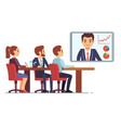 video meeting in office boardroom with ceo and vector image vector image