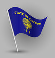 waving triangle american state flag oregon vector image
