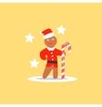 Gingerbread Man Christmas in Santa Hat vector image