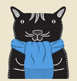 a smiling cat in a blue scarf vector image