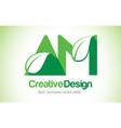 am green leaf letter design logo eco bio leaf vector image