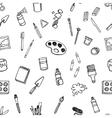 Artist tools sketch set seamless pattern vector image vector image