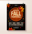 autumn party flyer with falling vector image