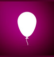 balloon with ribbon icon on purple background vector image vector image