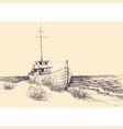 boat on sea shore hand drawing empty beach