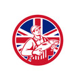 british fishmonger union jack flag mascot vector image vector image