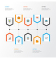 business icons flat style set with statistics vector image