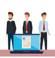business men with curriculum vitae in laptop vector image