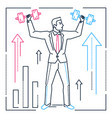 businessman lifting bars - line design style vector image vector image
