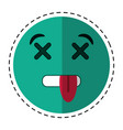 Cartoon dead emoticon funny icon vector image