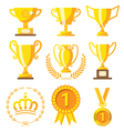 Champion cup and golden medal for Success winner vector image vector image