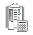 checklist with ticks and info calculator vector image vector image