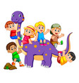 children get into the brontosaurus vector image vector image