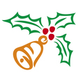 christmas holly berry and bell symbol vector image vector image