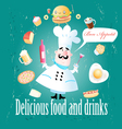 cook different meals and drinks vector image vector image