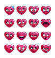 cute cartoon pink heart emoji set vector image