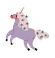 cute jumping uncorn adorable fantasy animal vector image vector image