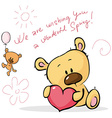 cute teddy bear design card - isolated on w vector image vector image
