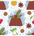 flaming christmas pudding seamless pattern vector image vector image