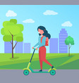 girl with rucksack riding on kick scooter vector image