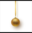 gold christmas ball with an ornament and spangles vector image vector image