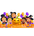 halloween party design with cute kids in costume vector image vector image