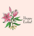 hand drawn easter gift card with lilies vector image vector image