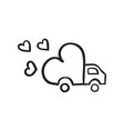 hand drawn icon of delivery truck with love vector image vector image