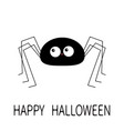 happy halloween black spider silhouette long paws vector image vector image