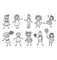 happy kids doodle cartoon icons set vector image