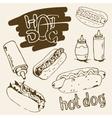 Hot Dog Hand Drawn vector image
