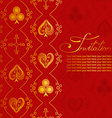 Invitation with pattern of suits of playing card vector image