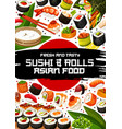 japanese restaurant poster with sushi and rolls vector image vector image