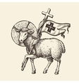 Lamb or sheep holding cross Religious symbol vector image vector image