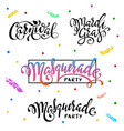 mardi gras carnival masquerade lettering set vector image vector image