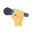 microphone in hand icon flat style vector image vector image