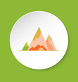 mountain peaks icon in flat style vector image