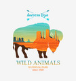 mountains and buffalo silhouette wild animal vector image vector image