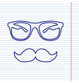 mustache and glasses sign navy line icon vector image vector image